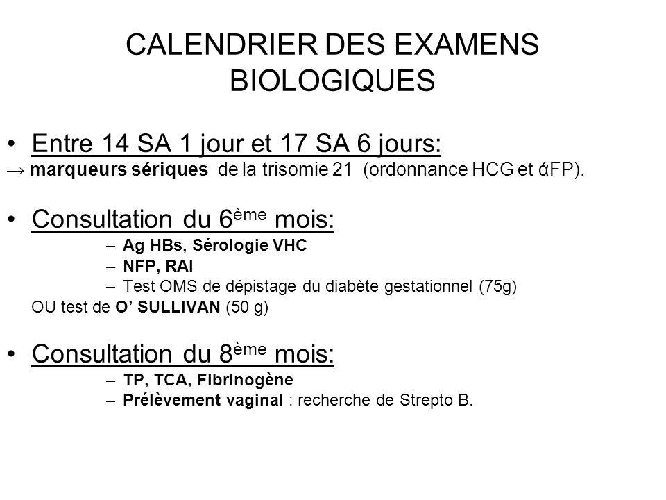 CALENDRIER DES EXAMENS BIOLOGIQUES Entre 14 SA 1 jour et 17 SA 6 jours: marqueurs sériques de la trisomie 21 (ordonnance HCG et άFP). Consultation du