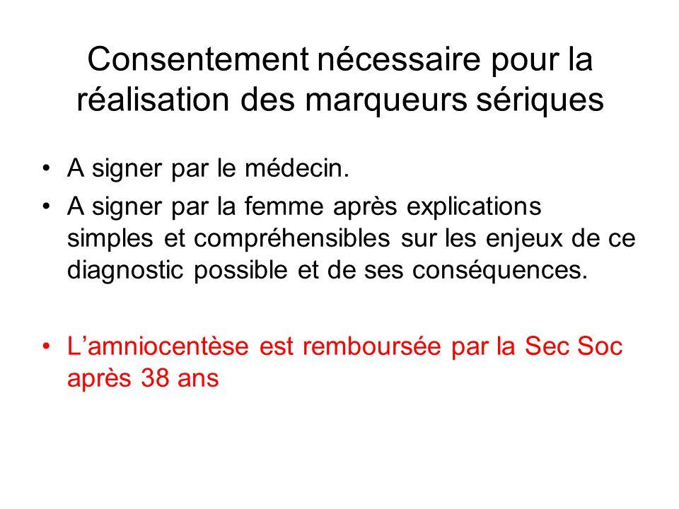 Consentement nécessaire pour la réalisation des marqueurs sériques A signer par le médecin. A signer par la femme après explications simples et compré