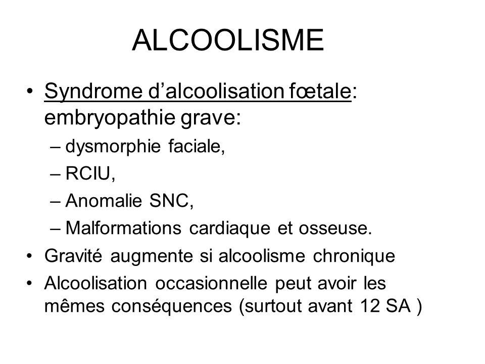 ALCOOLISME Syndrome dalcoolisation fœtale: embryopathie grave: –dysmorphie faciale, –RCIU, –Anomalie SNC, –Malformations cardiaque et osseuse. Gravité