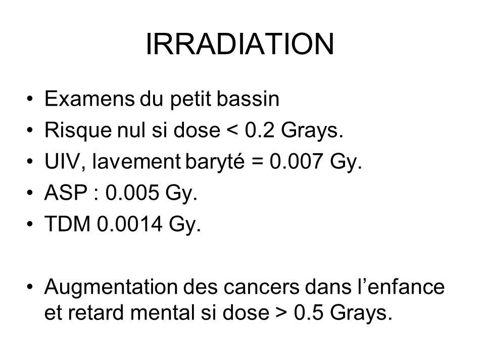 IRRADIATION Examens du petit bassin Risque nul si dose < 0.2 Grays. UIV, lavement baryté = 0.007 Gy. ASP : 0.005 Gy. TDM 0.0014 Gy. Augmentation des c