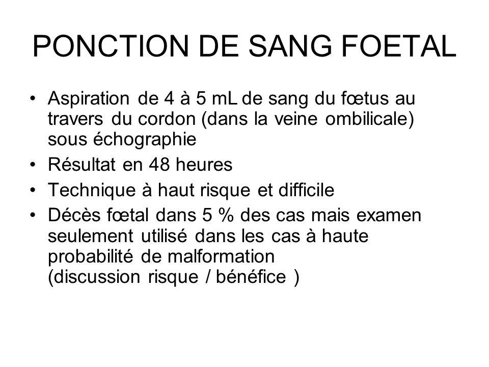 PONCTION DE SANG FOETAL Aspiration de 4 à 5 mL de sang du fœtus au travers du cordon (dans la veine ombilicale) sous échographie Résultat en 48 heures