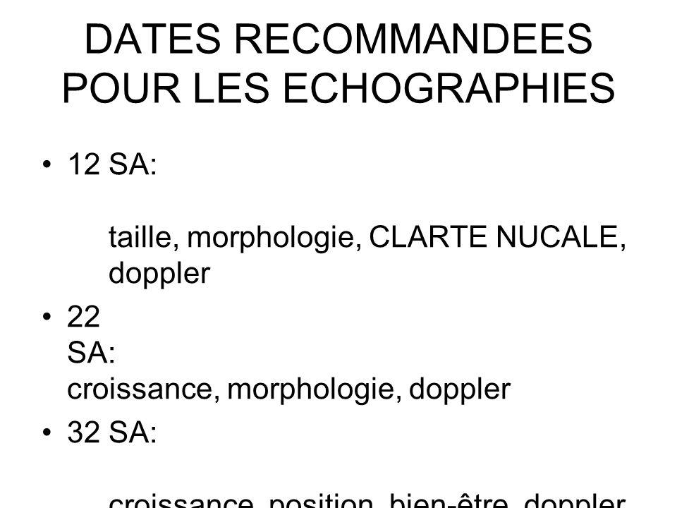 DATES RECOMMANDEES POUR LES ECHOGRAPHIES 12 SA: taille, morphologie, CLARTE NUCALE, doppler 22 SA: croissance, morphologie, doppler 32 SA: croissance,