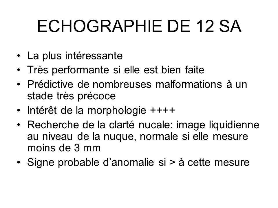 ECHOGRAPHIE DE 12 SA La plus intéressante Très performante si elle est bien faite Prédictive de nombreuses malformations à un stade très précoce Intér