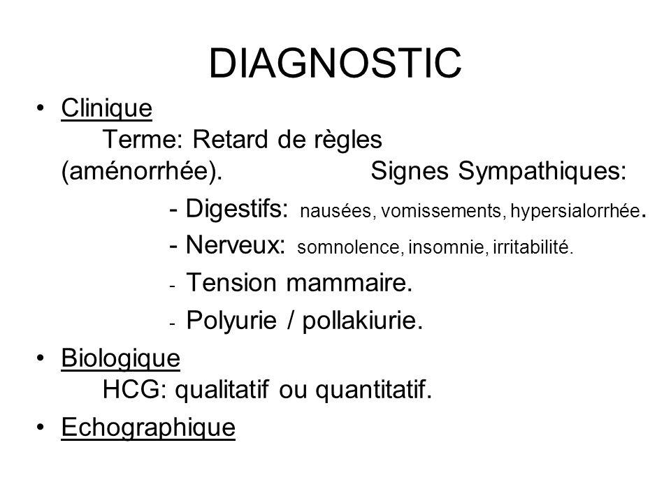 DIAGNOSTIC Clinique Terme: Retard de règles (aménorrhée).Signes Sympathiques: - Digestifs: nausées, vomissements, hypersialorrhée. - Nerveux: somnolen