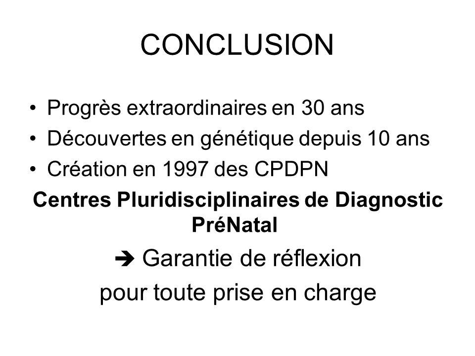 CONCLUSION Progrès extraordinaires en 30 ans Découvertes en génétique depuis 10 ans Création en 1997 des CPDPN Centres Pluridisciplinaires de Diagnost