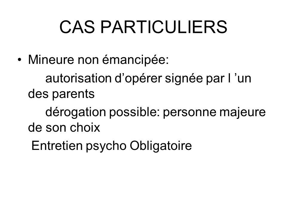 CAS PARTICULIERS Mineure non émancipée: autorisation dopérer signée par l un des parents dérogation possible: personne majeure de son choix Entretien