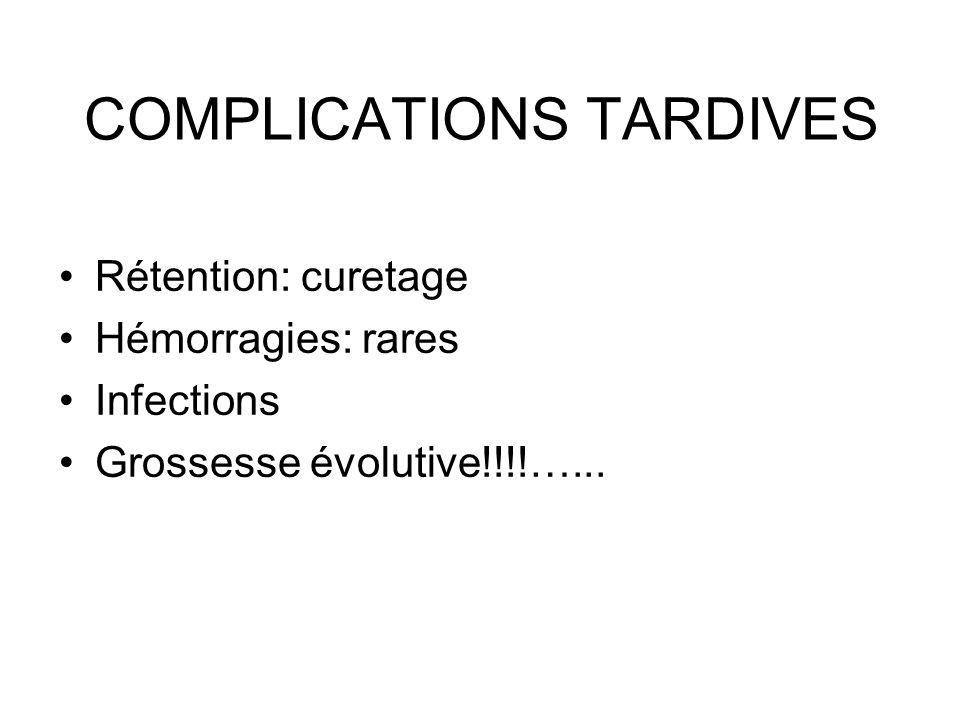 COMPLICATIONS TARDIVES Rétention: curetage Hémorragies: rares Infections Grossesse évolutive!!!!…...