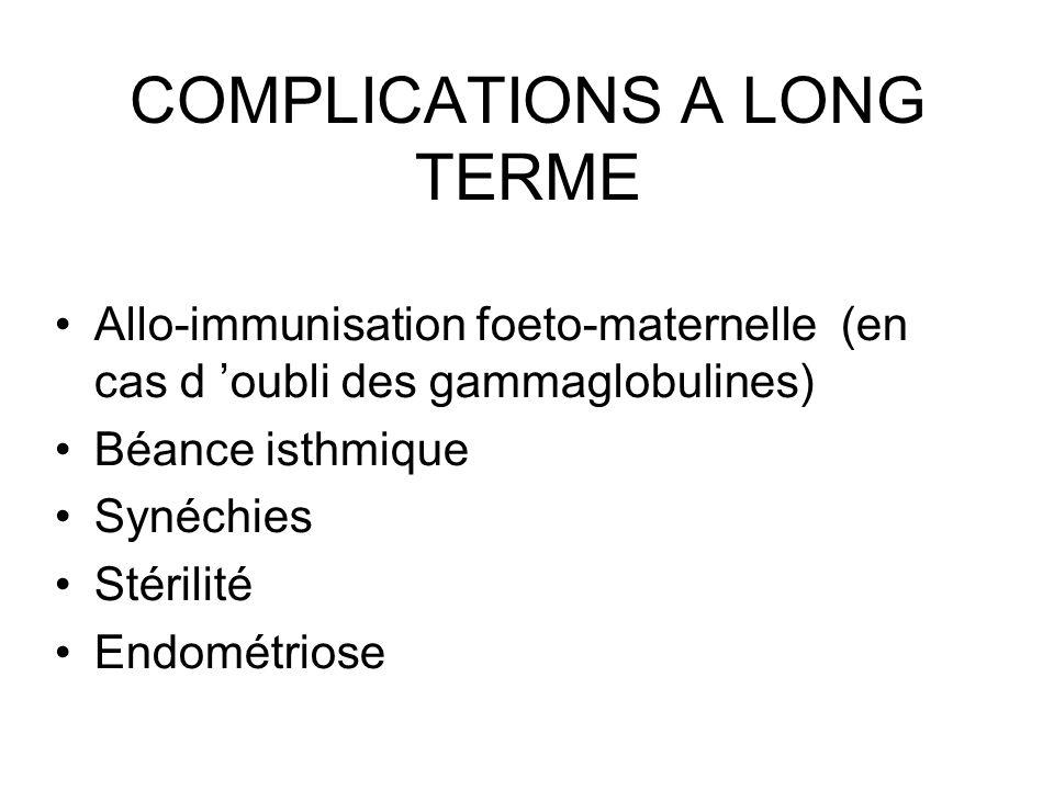 COMPLICATIONS A LONG TERME Allo-immunisation foeto-maternelle (en cas d oubli des gammaglobulines) Béance isthmique Synéchies Stérilité Endométriose