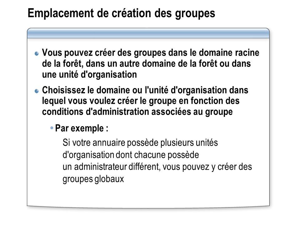 Emplacement de création des groupes Vous pouvez créer des groupes dans le domaine racine de la forêt, dans un autre domaine de la forêt ou dans une un