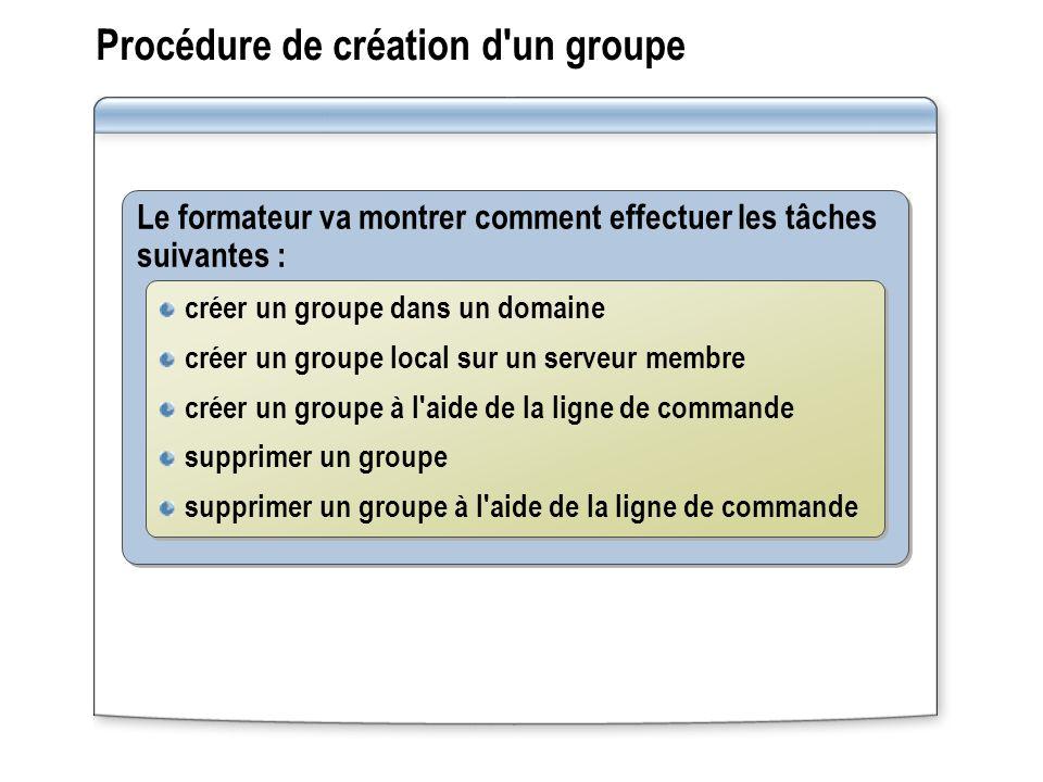 Procédure de création d'un groupe Le formateur va montrer comment effectuer les tâches suivantes : créer un groupe dans un domaine créer un groupe loc