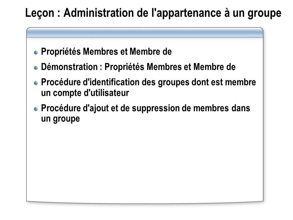 Leçon : Administration de l'appartenance à un groupe Propriétés Membres et Membre de Démonstration : Propriétés Membres et Membre de Procédure d'ident
