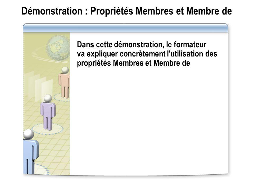 Démonstration : Propriétés Membres et Membre de Dans cette démonstration, le formateur va expliquer concrètement l'utilisation des propriétés Membres