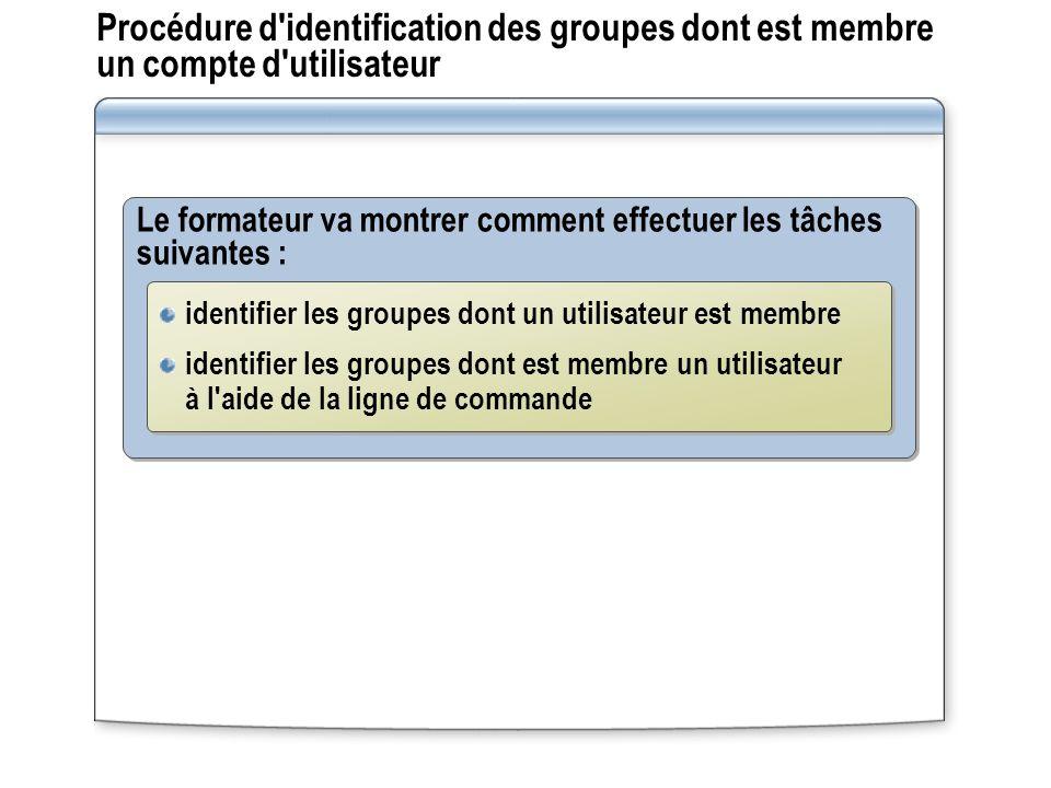 Le formateur va montrer comment effectuer les tâches suivantes : Procédure d'identification des groupes dont est membre un compte d'utilisateur identi