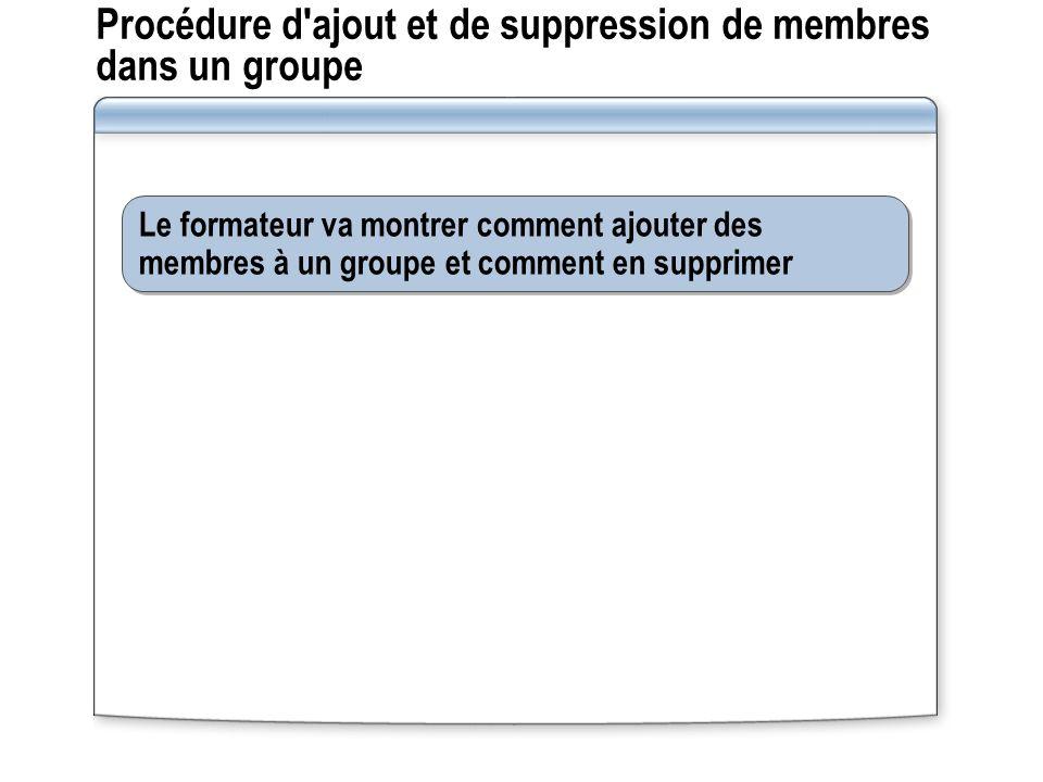 Procédure d'ajout et de suppression de membres dans un groupe Le formateur va montrer comment ajouter des membres à un groupe et comment en supprimer