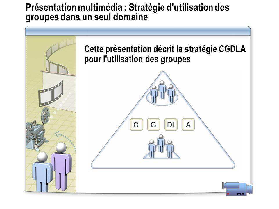 Présentation multimédia : Stratégie d'utilisation des groupes dans un seul domaine Cette présentation décrit la stratégie CGDLA pour l'utilisation des