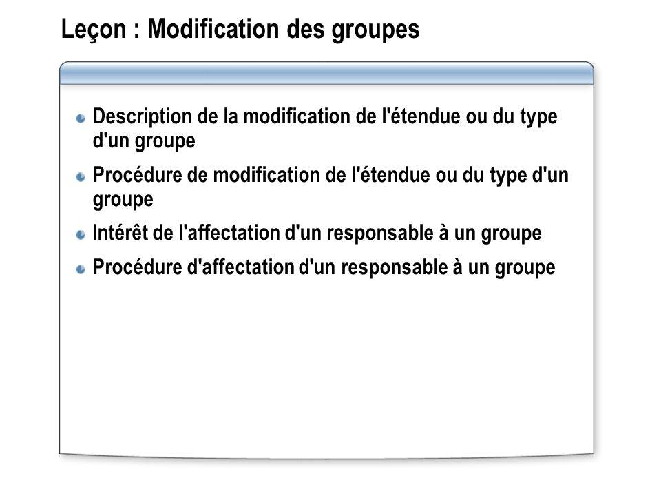 Leçon : Modification des groupes Description de la modification de l'étendue ou du type d'un groupe Procédure de modification de l'étendue ou du type