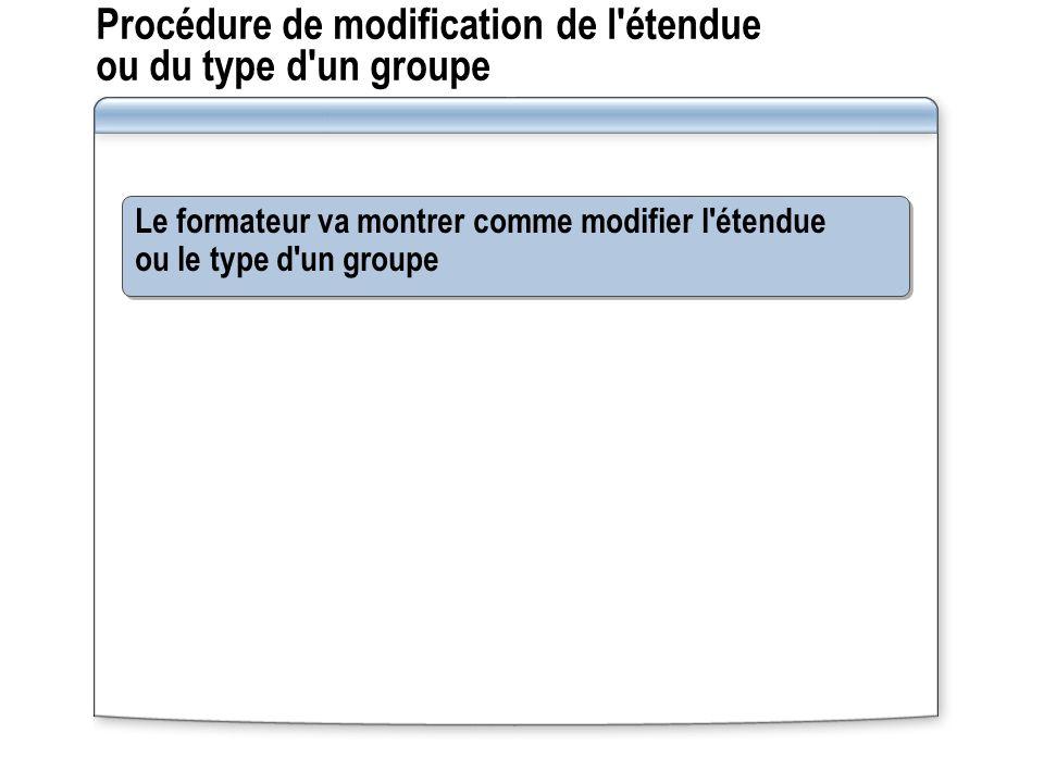 Procédure de modification de l'étendue ou du type d'un groupe Le formateur va montrer comme modifier l'étendue ou le type d'un groupe