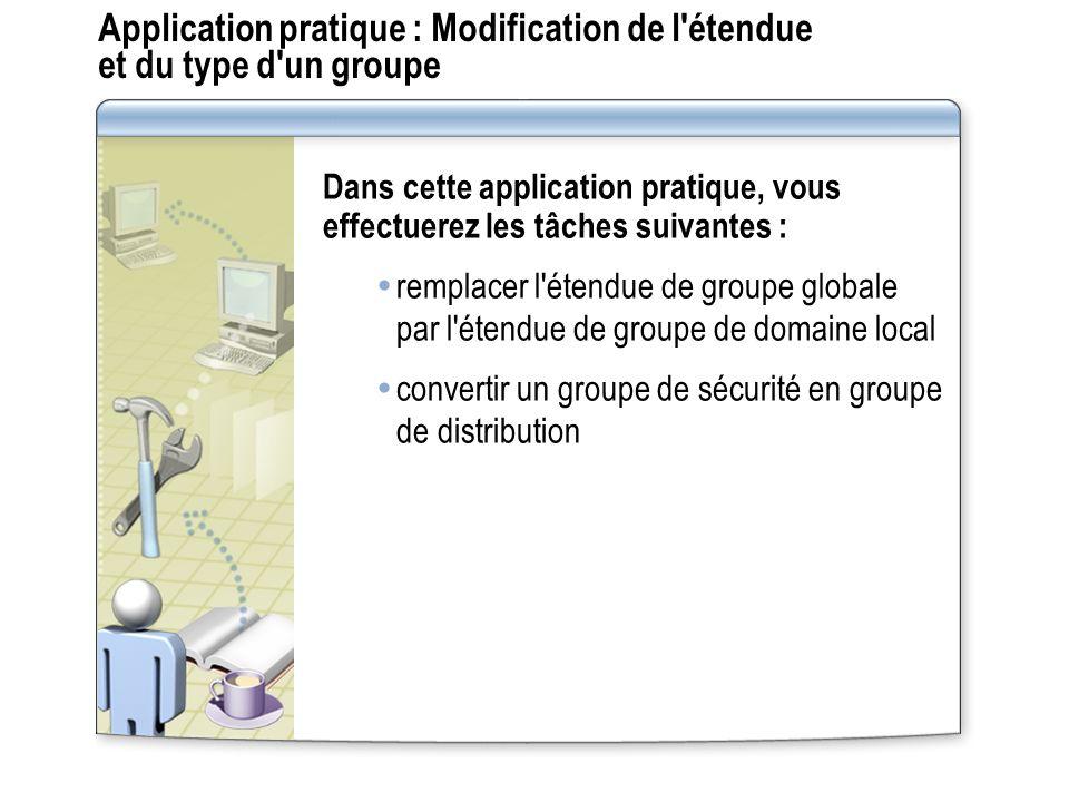 Application pratique : Modification de l'étendue et du type d'un groupe Dans cette application pratique, vous effectuerez les tâches suivantes : rempl
