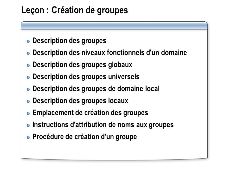 Leçon : Création de groupes Description des groupes Description des niveaux fonctionnels d'un domaine Description des groupes globaux Description des