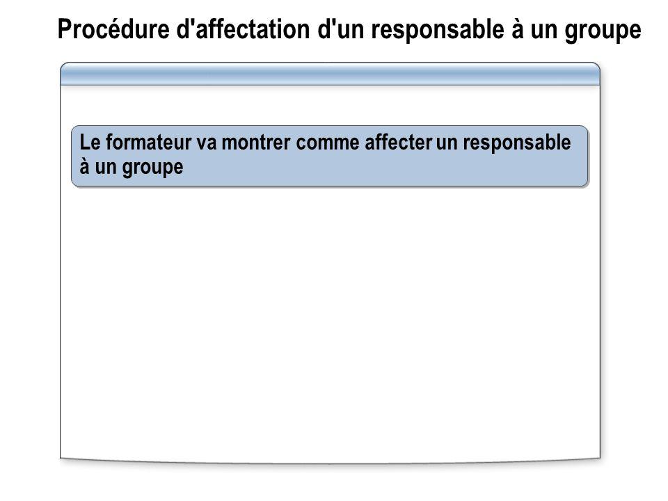Procédure d'affectation d'un responsable à un groupe Le formateur va montrer comme affecter un responsable à un groupe