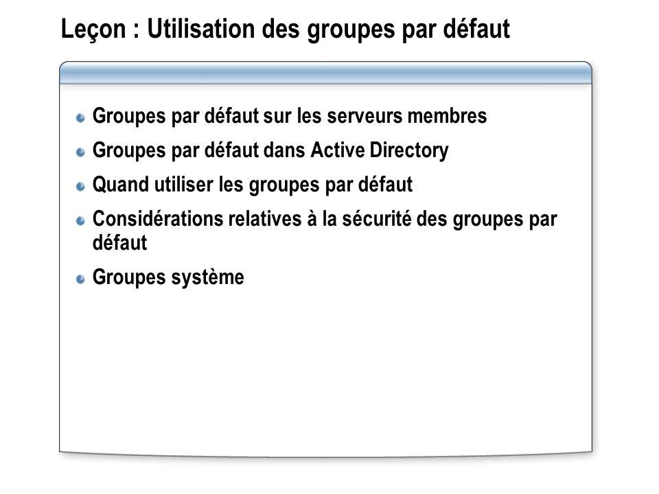 Leçon : Utilisation des groupes par défaut Groupes par défaut sur les serveurs membres Groupes par défaut dans Active Directory Quand utiliser les gro