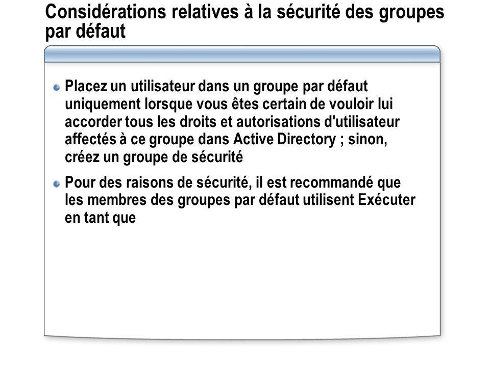 Considérations relatives à la sécurité des groupes par défaut Placez un utilisateur dans un groupe par défaut uniquement lorsque vous êtes certain de