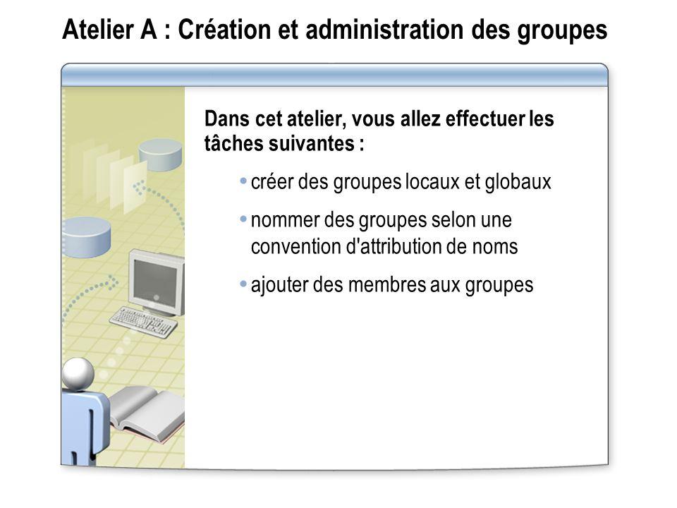 Atelier A : Création et administration des groupes Dans cet atelier, vous allez effectuer les tâches suivantes : créer des groupes locaux et globaux n