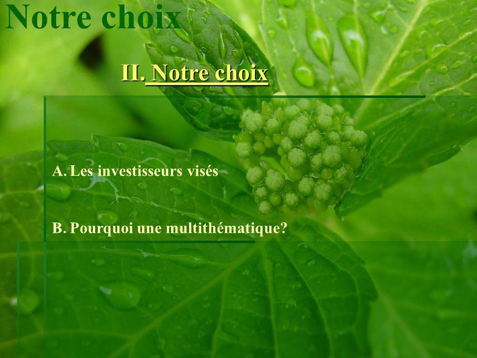 II. Notre choix Notre choix A.Les investisseurs visés B.Pourquoi une multithématique?