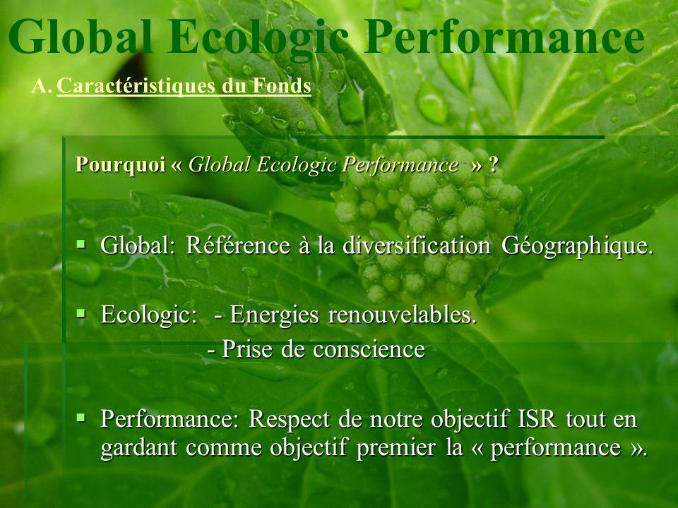 Pourquoi « Global Ecologic Performance » . Global: Référence à la diversification Géographique.