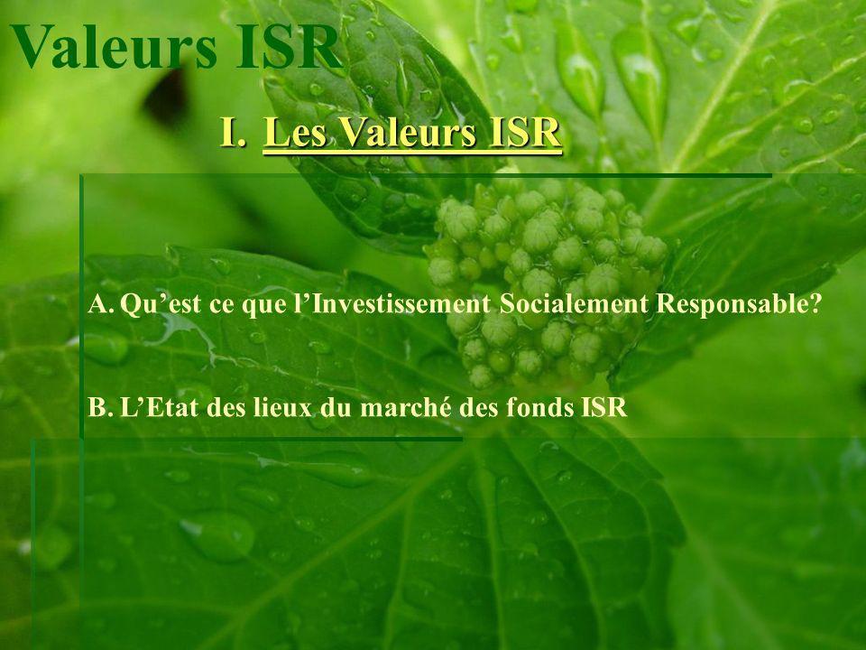 Valeurs ISR A.Quest ce que lInvestissement Socialement Responsable? B.LEtat des lieux du marché des fonds ISR I.Les Valeurs ISR