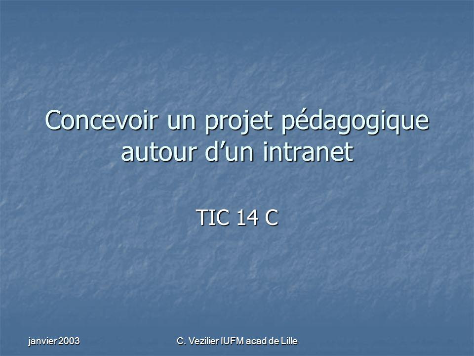 janvier 2003 C. Vezilier IUFM acad de Lille Concevoir un projet pédagogique autour dun intranet TIC 14 C