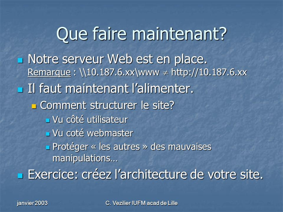 janvier 2003C. Vezilier IUFM acad de Lille Que faire maintenant? Notre serveur Web est en place. Remarque : \\10.187.6.xx\www http://10.187.6.xx Notre
