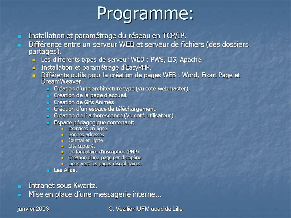 janvier 2003C. Vezilier IUFM acad de Lille Programme: Installation et paramétrage du réseau en TCP/IP. Installation et paramétrage du réseau en TCP/IP