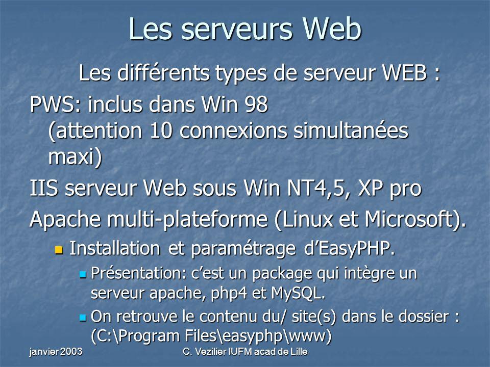 janvier 2003C. Vezilier IUFM acad de Lille Les serveurs Web Les différents types de serveur WEB : PWS: inclus dans Win 98 (attention 10 connexions sim
