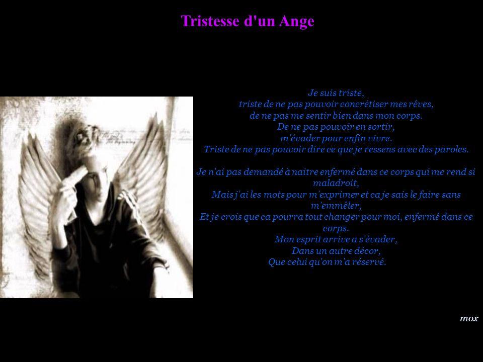 Tristesse d'un Ange Je suis triste, triste de ne pas pouvoir concrétiser mes rêves, de ne pas me sentir bien dans mon corps. De ne pas pouvoir en sort