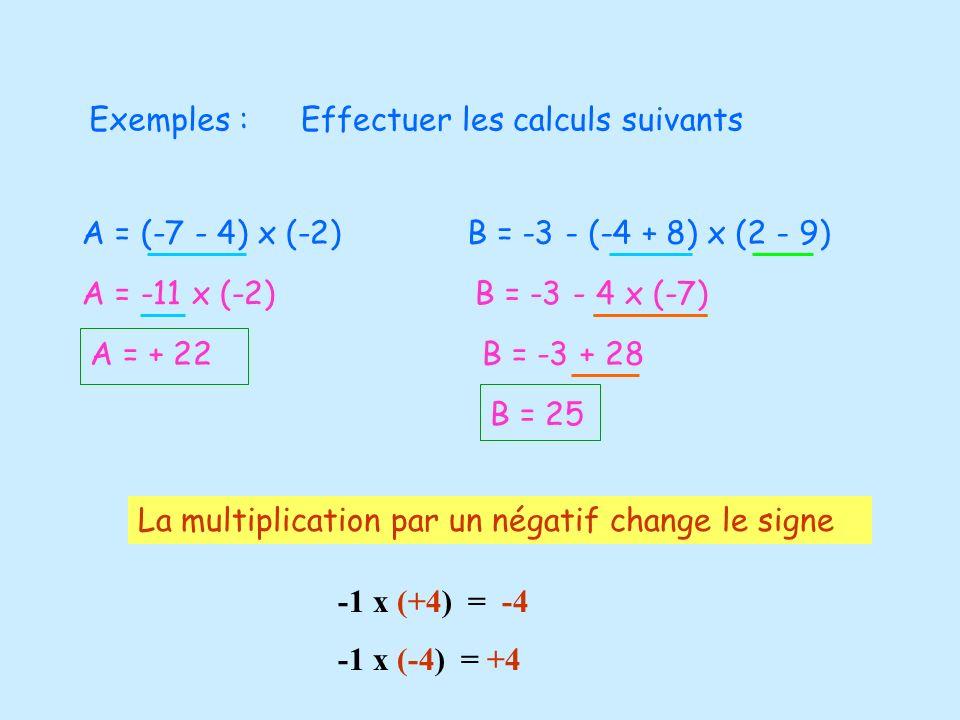Exemples :Effectuer les calculs suivants A = (-7 - 4) x (-2) A = -11 x (-2) A = + 22 B = -3 - (-4 + 8) x (2 - 9) B = -3 - 4 x (-7) B = -3 + 28 B = 25