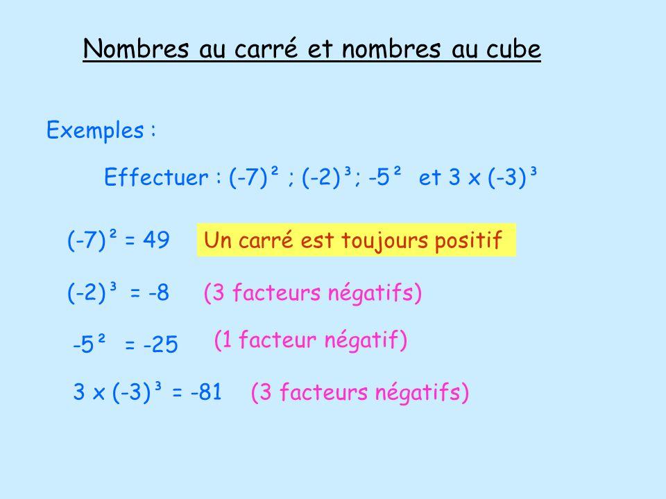 Nombres au carré et nombres au cube Exemples : Effectuer : (-7)² ; (-2)³; -5² et 3 x (-3)³ (-7)²= 49Un carré est toujours positif (-2)³= -8(3 facteurs