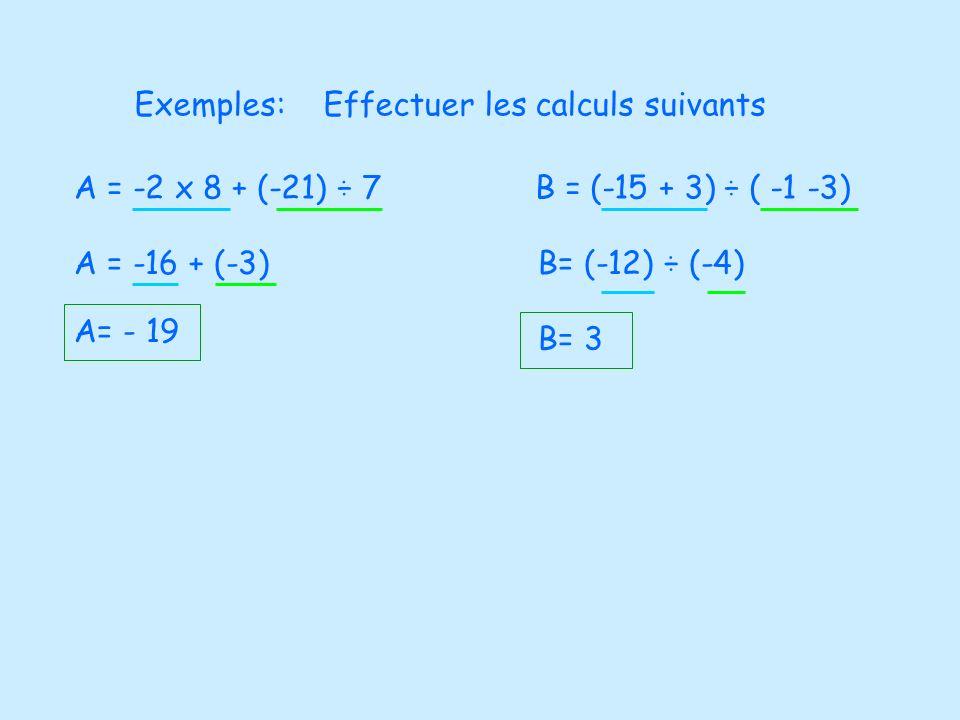 Exemples:Effectuer les calculs suivants A = -2 x 8 + (-21) ÷ 7 A = -16 + (-3) A= - 19 B = (-15 + 3) ÷ ( -1 -3) B= (-12) ÷ (-4) B= 3