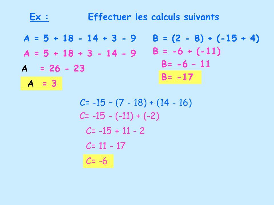 Ex :Effectuer les calculs suivants B = (2 - 8) + (-15 + 4)A = 5 + 18 - 14 + 3 - 9 A = 5 + 18 + 3 - 14 - 9 A = 26 - 23 A = 3 B = -6 + (-11) B= -6 – 11