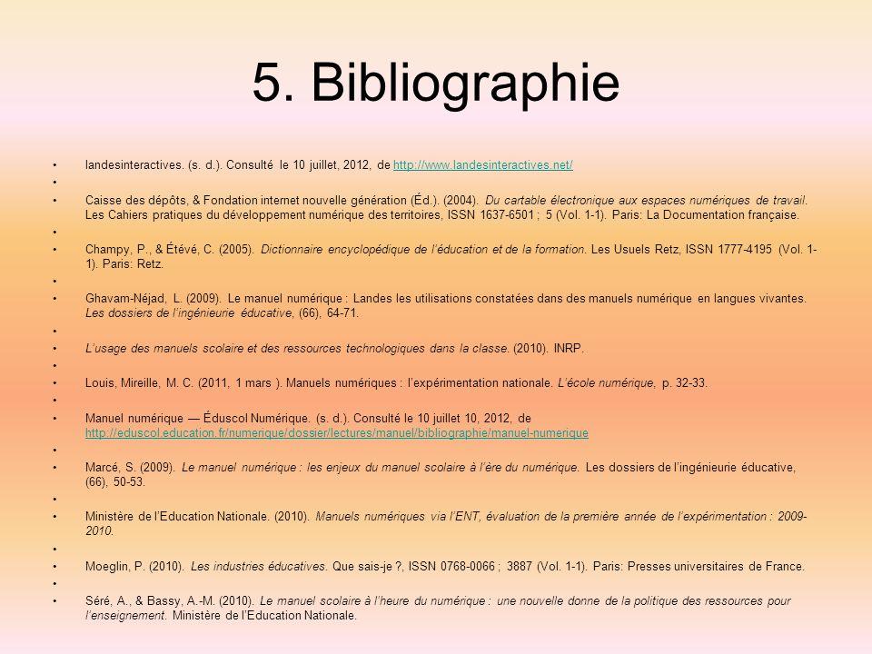 5. Bibliographie landesinteractives. (s. d.). Consulté le 10 juillet, 2012, de http://www.landesinteractives.net/http://www.landesinteractives.net/ Ca