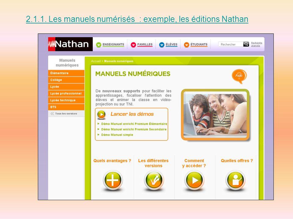 2.1.2. Les manuels numérisés, enrichis : exemple, les éditions Nathan