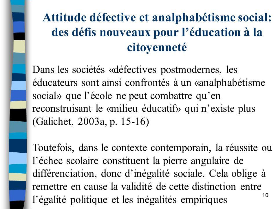 Dans les sociétés «défectives postmodernes, les éducateurs sont ainsi confrontés à un «analphabétisme social» que lécole ne peut combattre quen recons