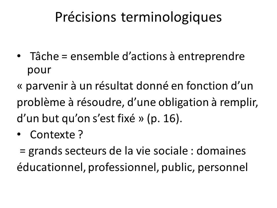 Précisions terminologiques Tâche = ensemble dactions à entreprendre pour « parvenir à un résultat donné en fonction dun problème à résoudre, dune obli