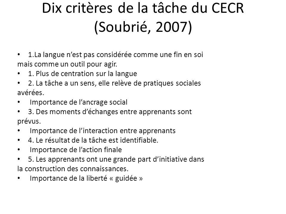 Dix critères de la tâche du CECR (Soubrié, 2007) 1.La langue nest pas considérée comme une fin en soi mais comme un outil pour agir. 1. Plus de centra