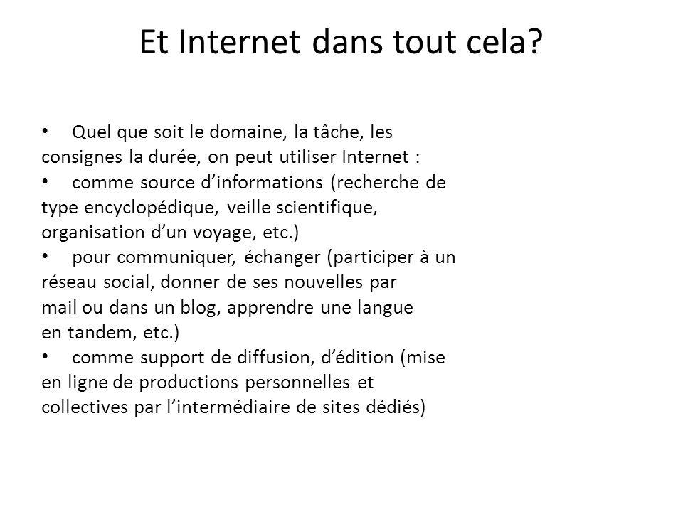Et Internet dans tout cela? Quel que soit le domaine, la tâche, les consignes la durée, on peut utiliser Internet : comme source dinformations (recher
