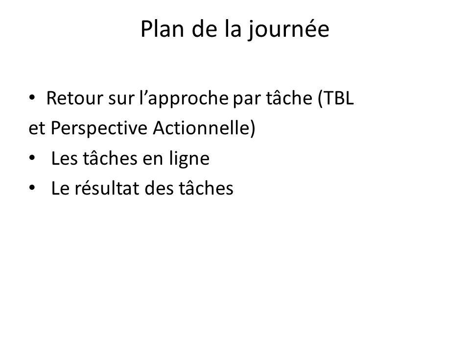 Plan de la journée Retour sur lapproche par tâche (TBL et Perspective Actionnelle) Les tâches en ligne Le résultat des tâches