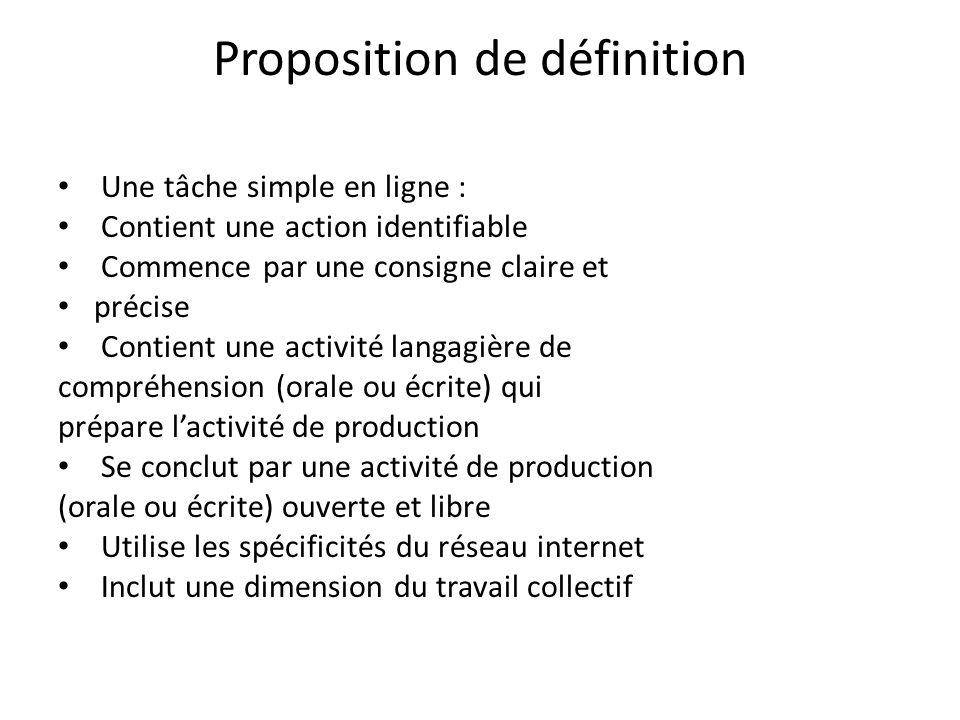 Proposition de définition Une tâche simple en ligne : Contient une action identifiable Commence par une consigne claire et précise Contient une activi