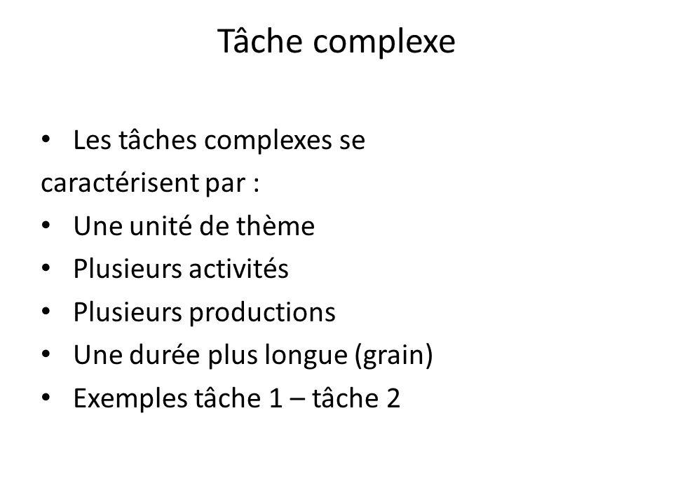 Tâche complexe Les tâches complexes se caractérisent par : Une unité de thème Plusieurs activités Plusieurs productions Une durée plus longue (grain)