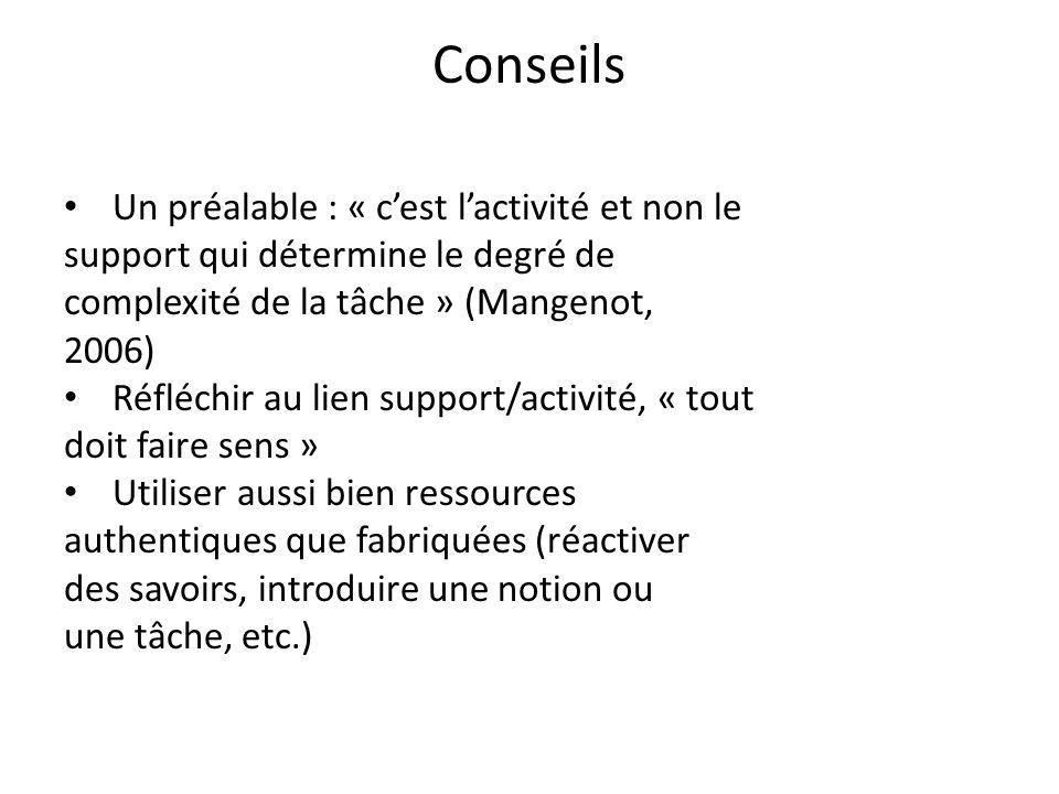 Conseils Un préalable : « cest lactivité et non le support qui détermine le degré de complexité de la tâche » (Mangenot, 2006) Réfléchir au lien suppo