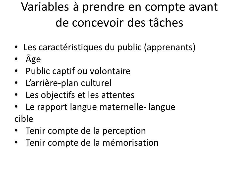 Variables à prendre en compte avant de concevoir des tâches Les caractéristiques du public (apprenants) Âge Public captif ou volontaire Larrière-plan